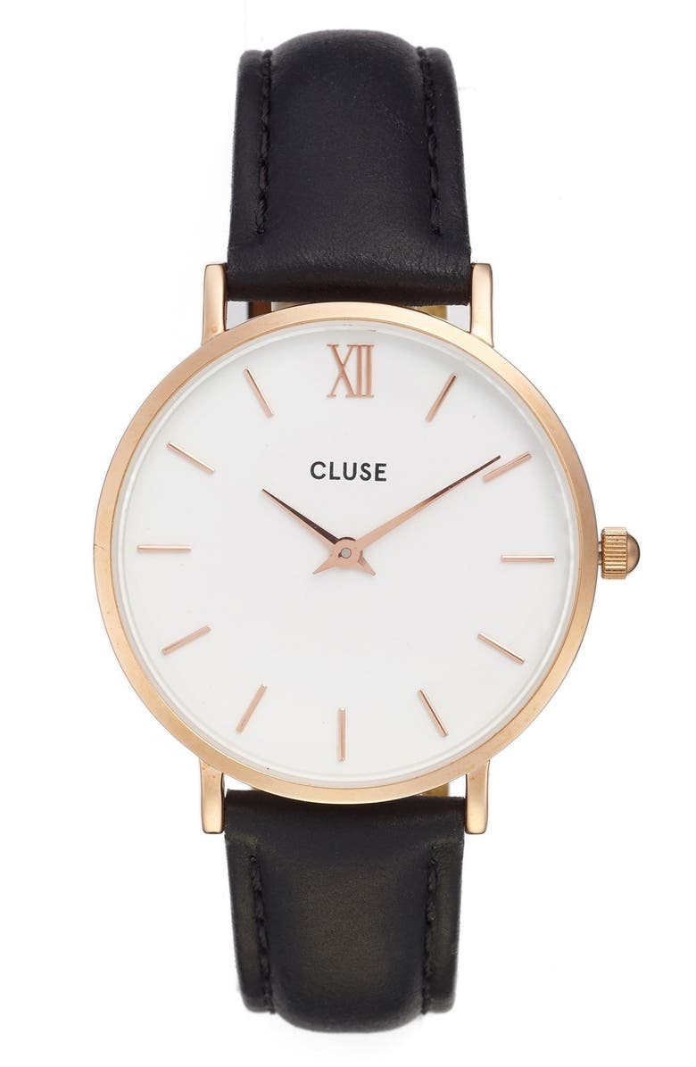 CLUSE 'Minuit' Leather Strap Watch, 33mm, Main, color, 001