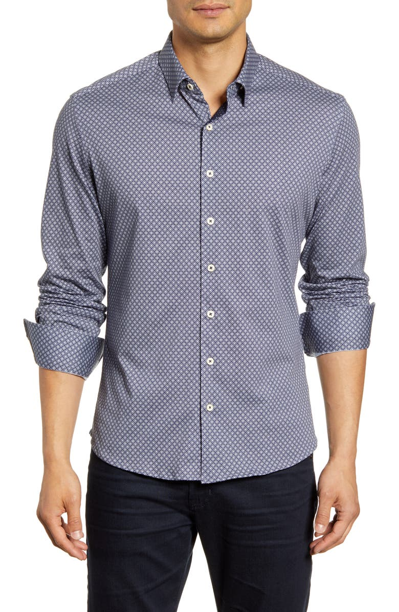 STONE ROSE Regular Fit Button-Down Performance Sport Shirt, Main, color, 411