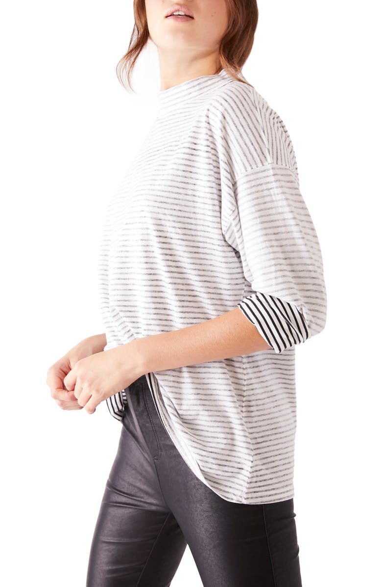 FREE PEOPLE Be Free Mock Neck Stripe Tunic, Main, color, 019