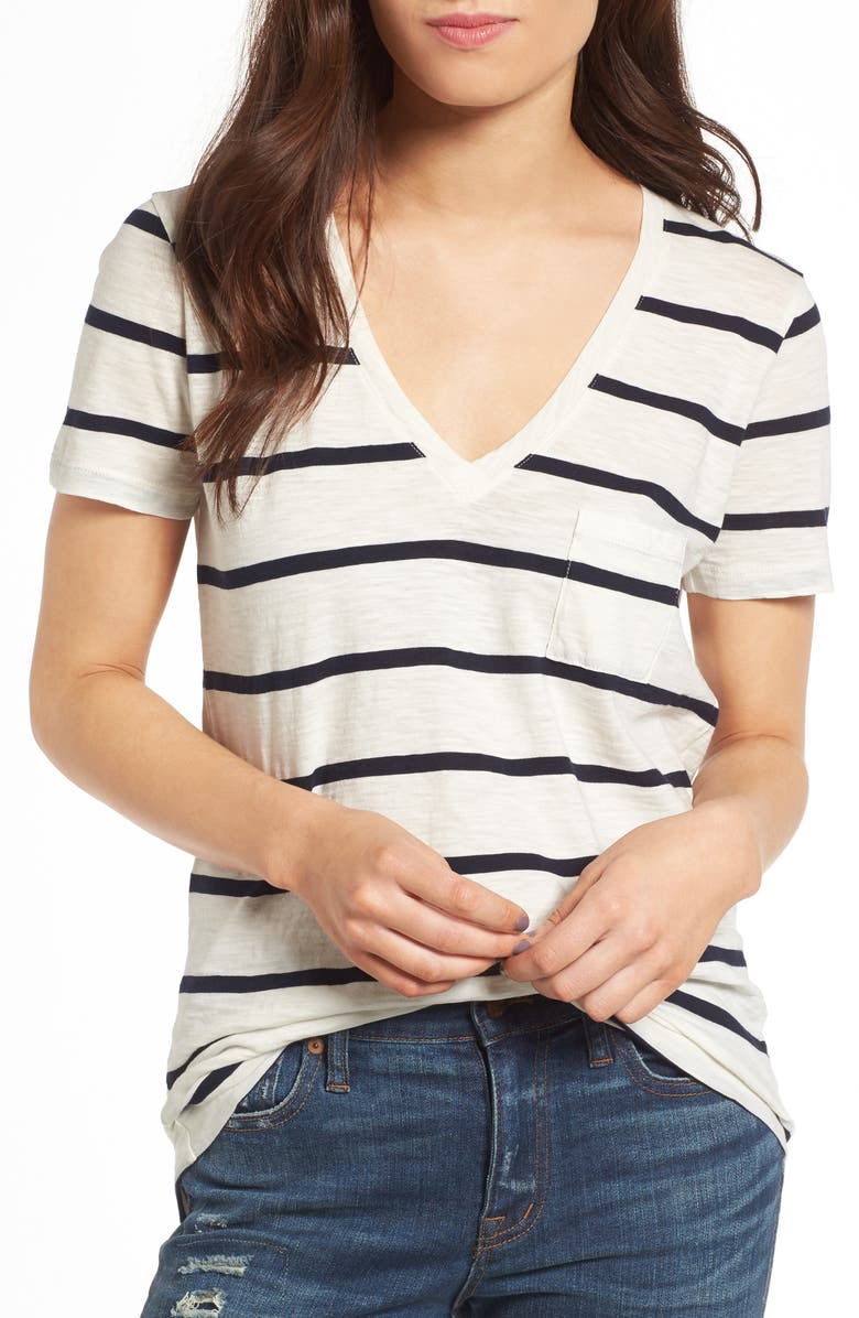 MADEWELL Whisper Cotton V-Neck Pocket Tee, Main, color, 900