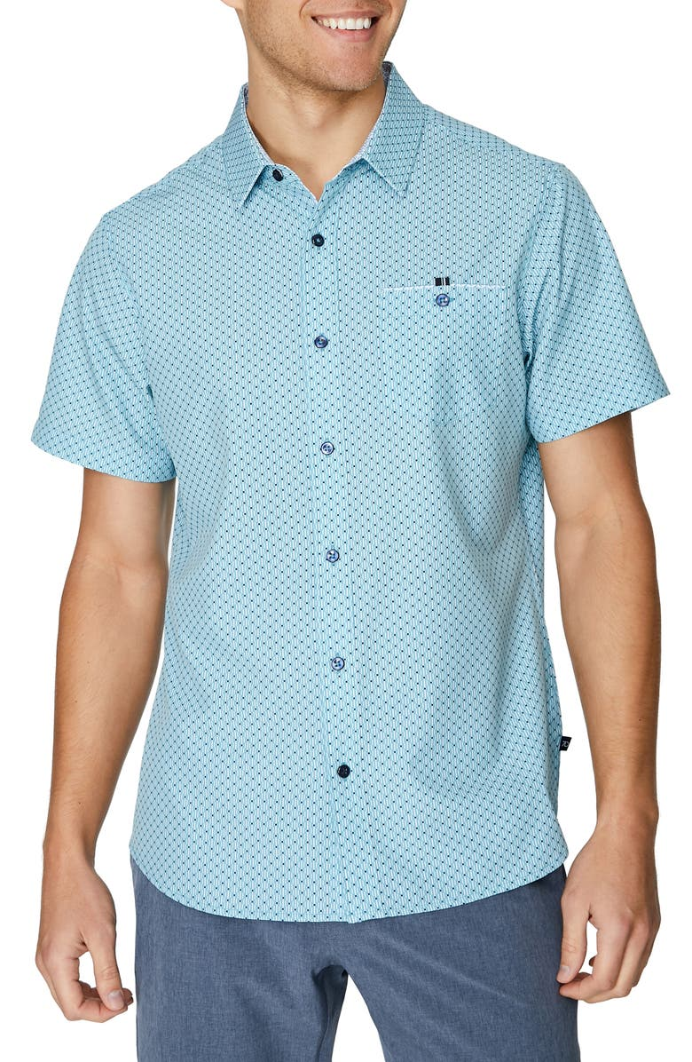7 DIAMONDS Vibeology Slim Fit Short Sleeve Stretch Button-Up Shirt, Main, color, MINT