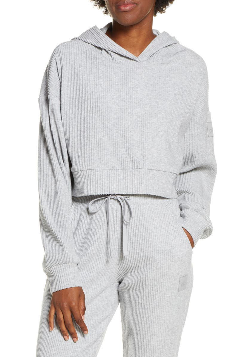 ALO Muse Ribbed Crop Hoodie, Main, color, ATHLETIC HEATHER GREY