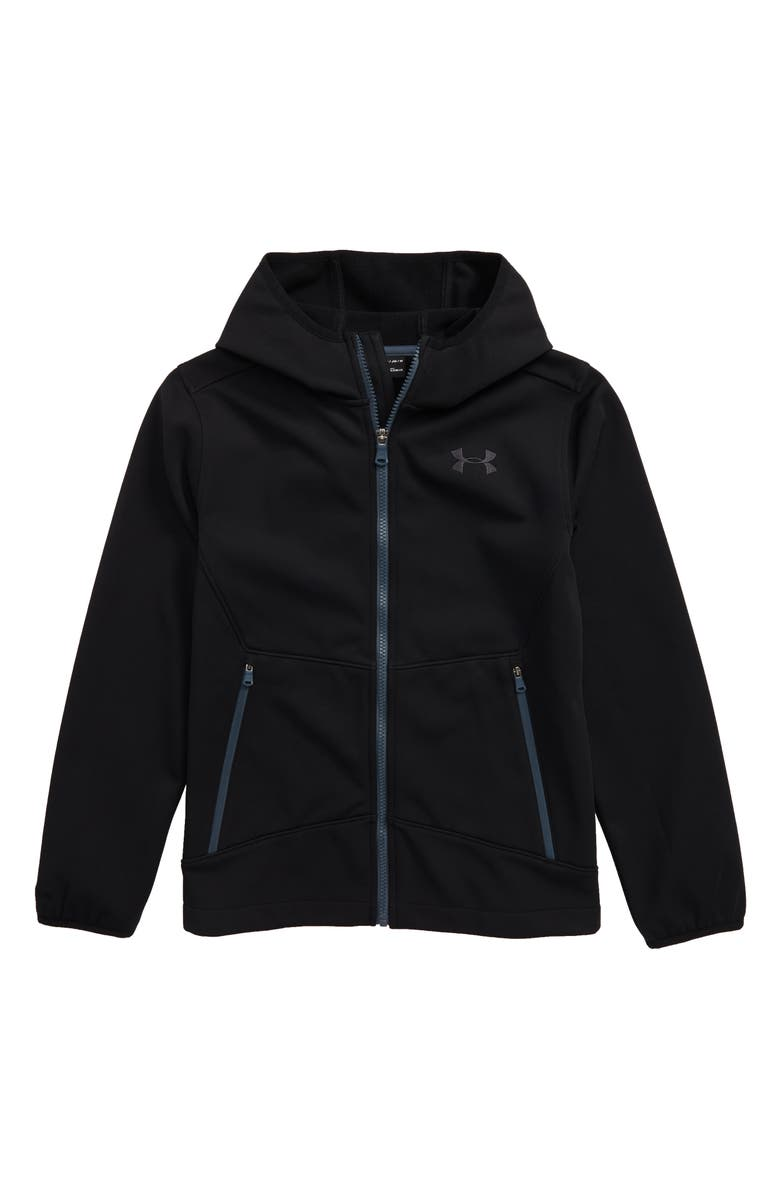 UNDER ARMOUR Sim ColdGear<sup>®</sup> Hooded Soft Shell Jacket, Main, color, 001