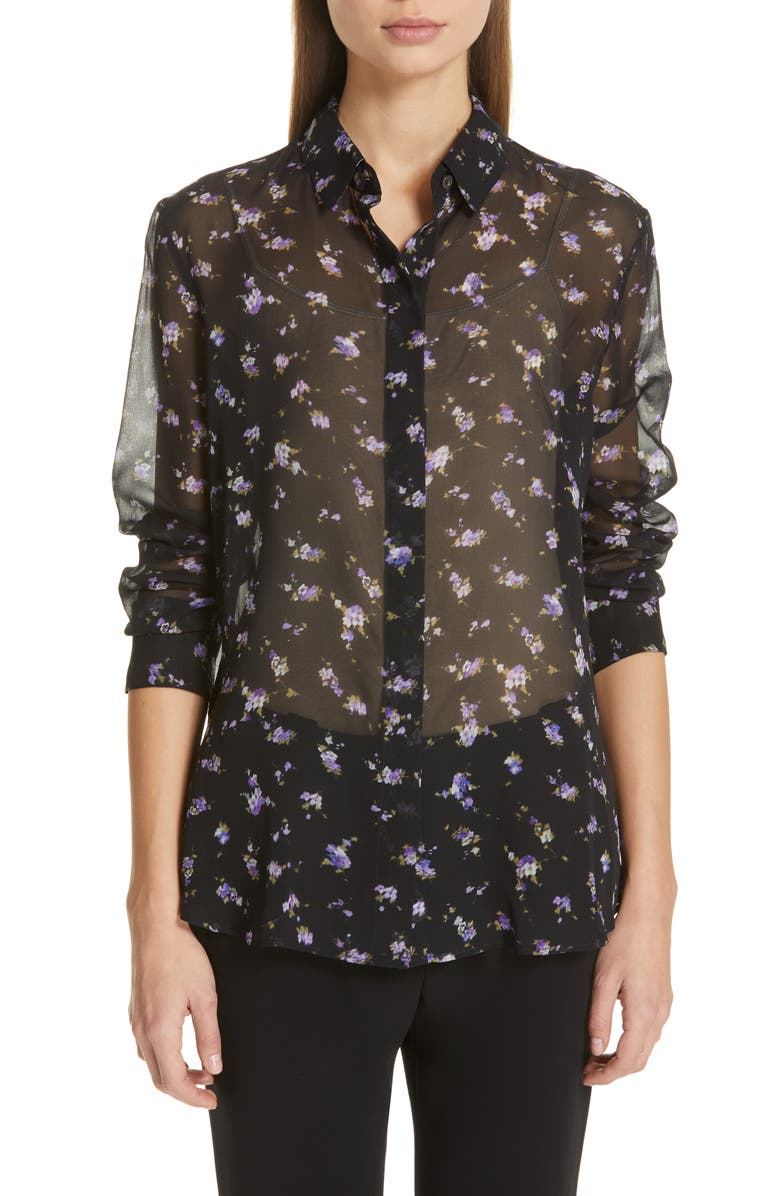 ALTUZARRA Floral Print Sheer Silk Blouse, Main, color, 001