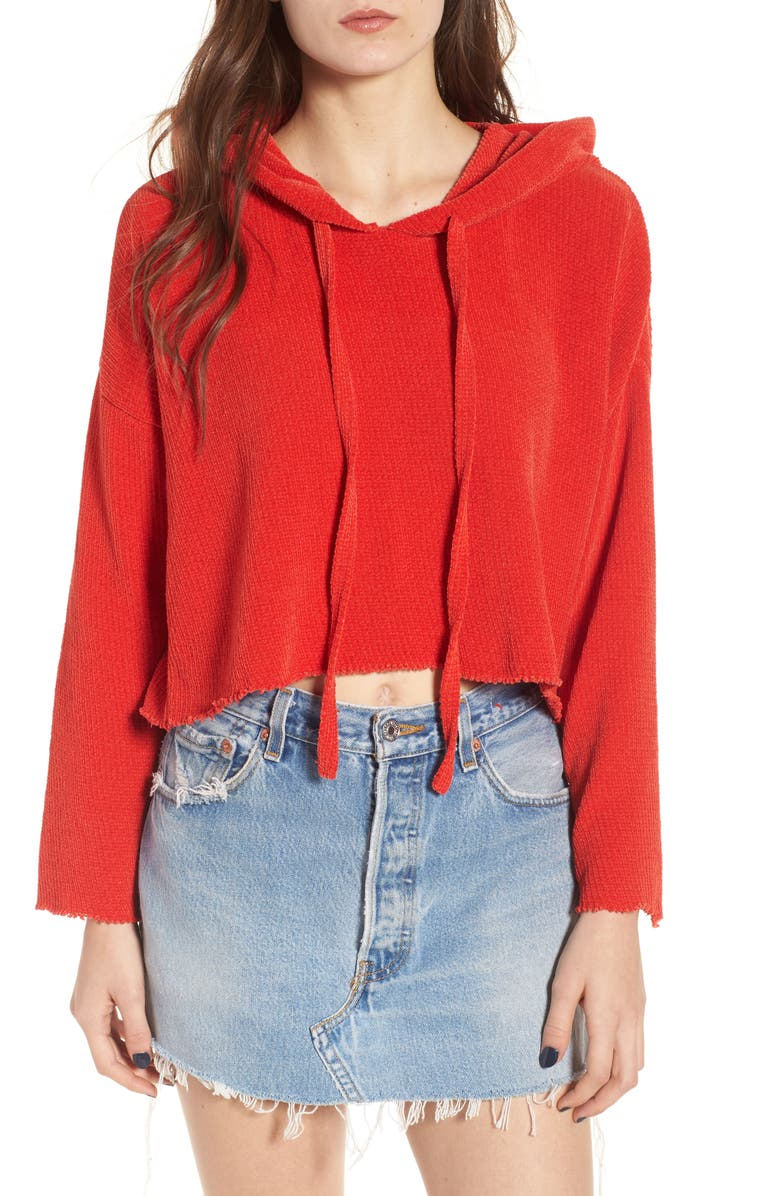 KENDALL + KYLIE Chenille Crop Hoodie, Main, color, 950
