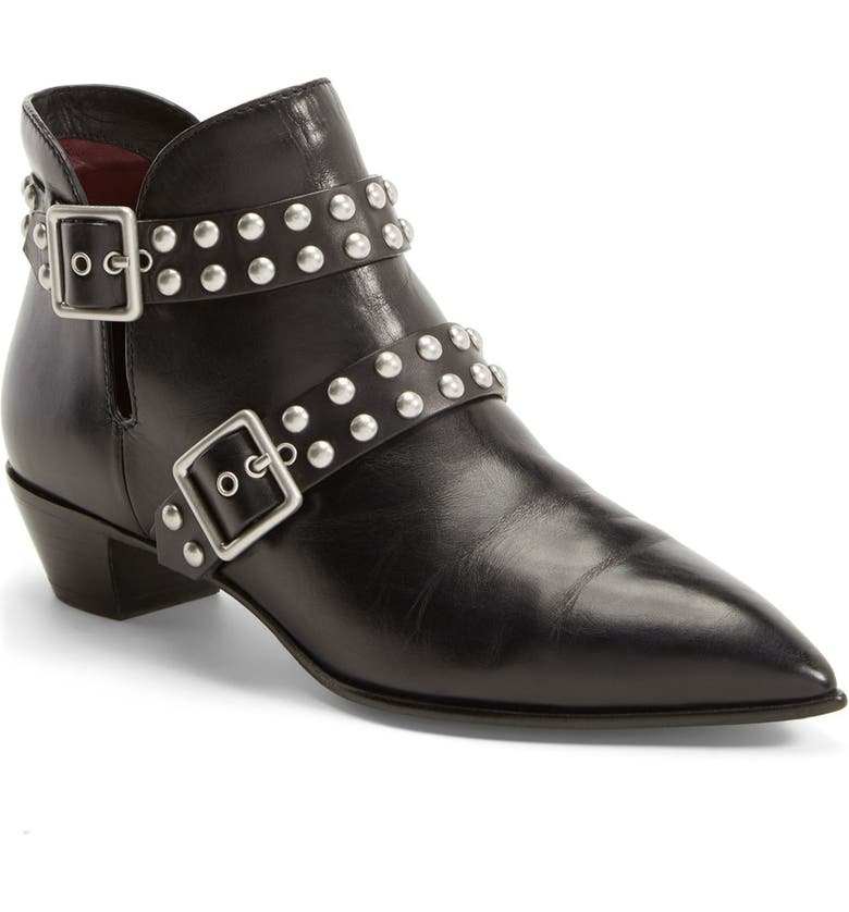 MARC JACOBS MARC BY MARC JACOBS 'Carroll' Studded Leather Pointy Toe Ankle Boot, Main, color, BLACK LEATHER
