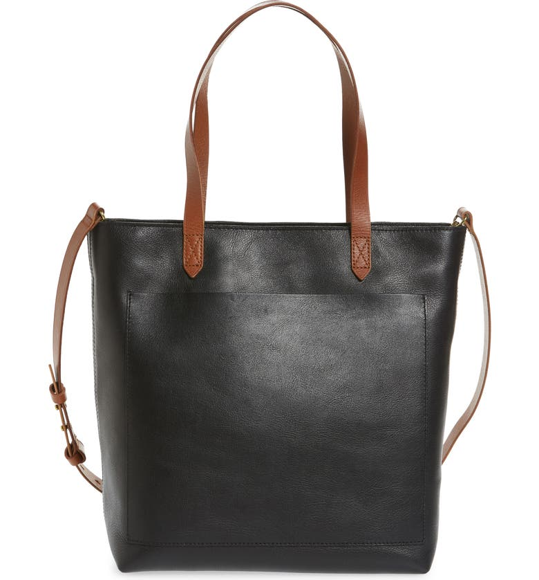 MADEWELL The Zip-Top Medium Transport Leather Tote, Main, color, TRUE BLACK BROWN