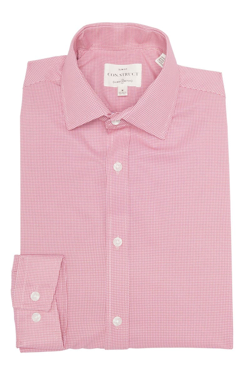 CONSTRUCT Slim Fit Pink Cross Hatch Geo Wrinkle-Free Stretch Dress Shirt, Main, color, PINK