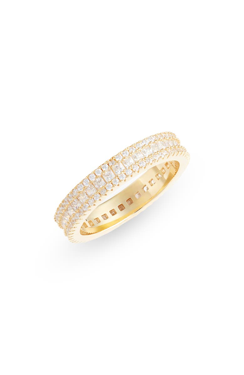 NORDSTROM Sterling Silver & Cubic Zirconia Band Ring, Main, color, CLEAR- GOLD