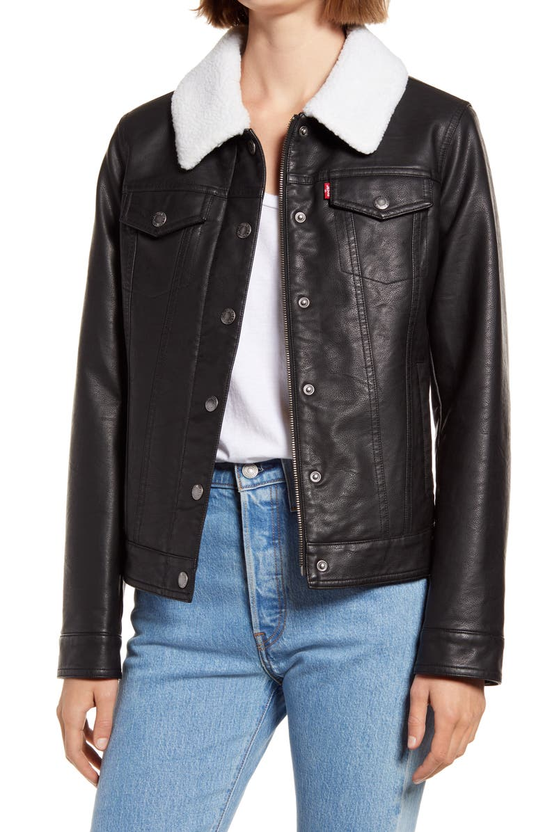 LEVI'S<SUP>®</SUP> Faux Leather Trucker Jacket with Faux Shearling Collar, Main, color, BLACK CREAM