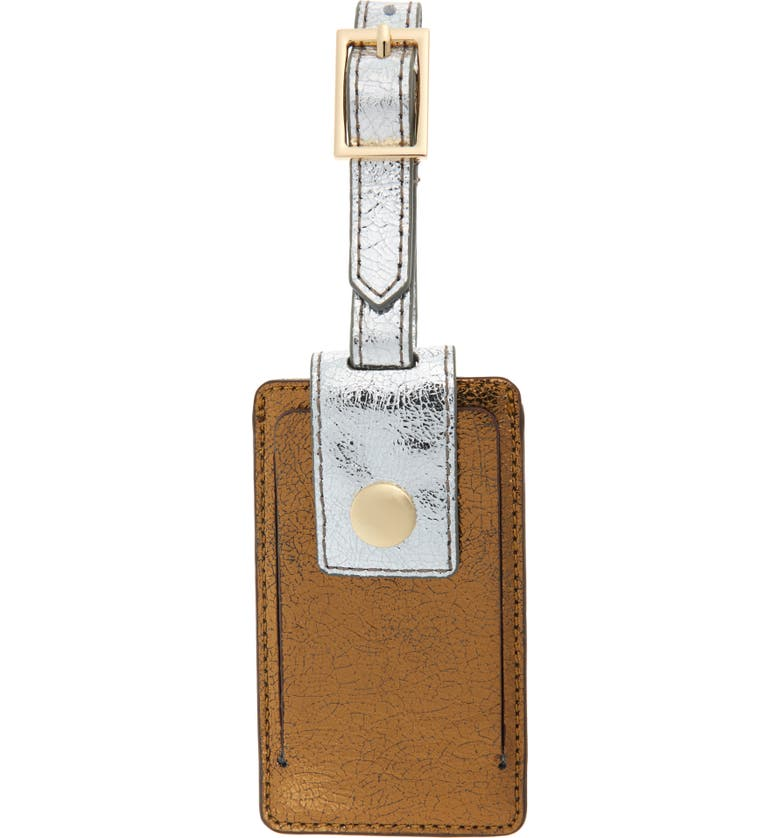 J.CREW Metallic Leather Luggage Tag, Main, color, 001