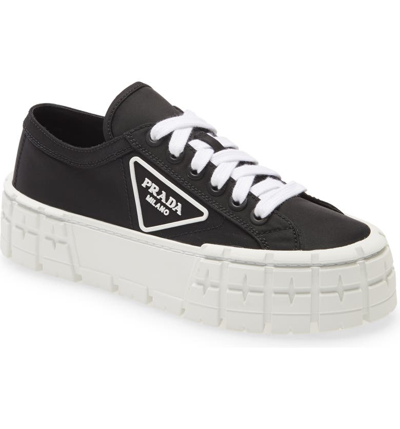 PRADA Logo Lug Platform Sneaker, Main, color, BLACK