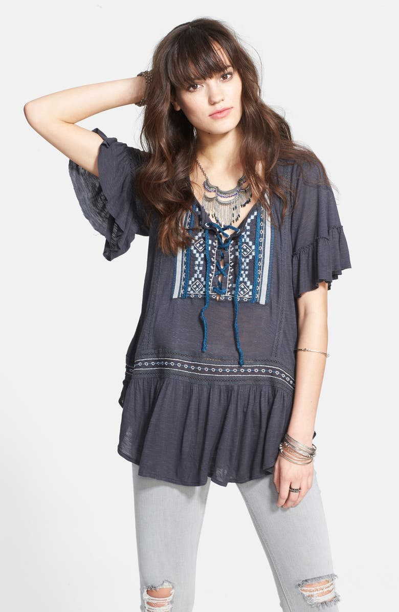 FREE PEOPLE 'El Mirage' Embroidered Top, Main, color, Charcoal