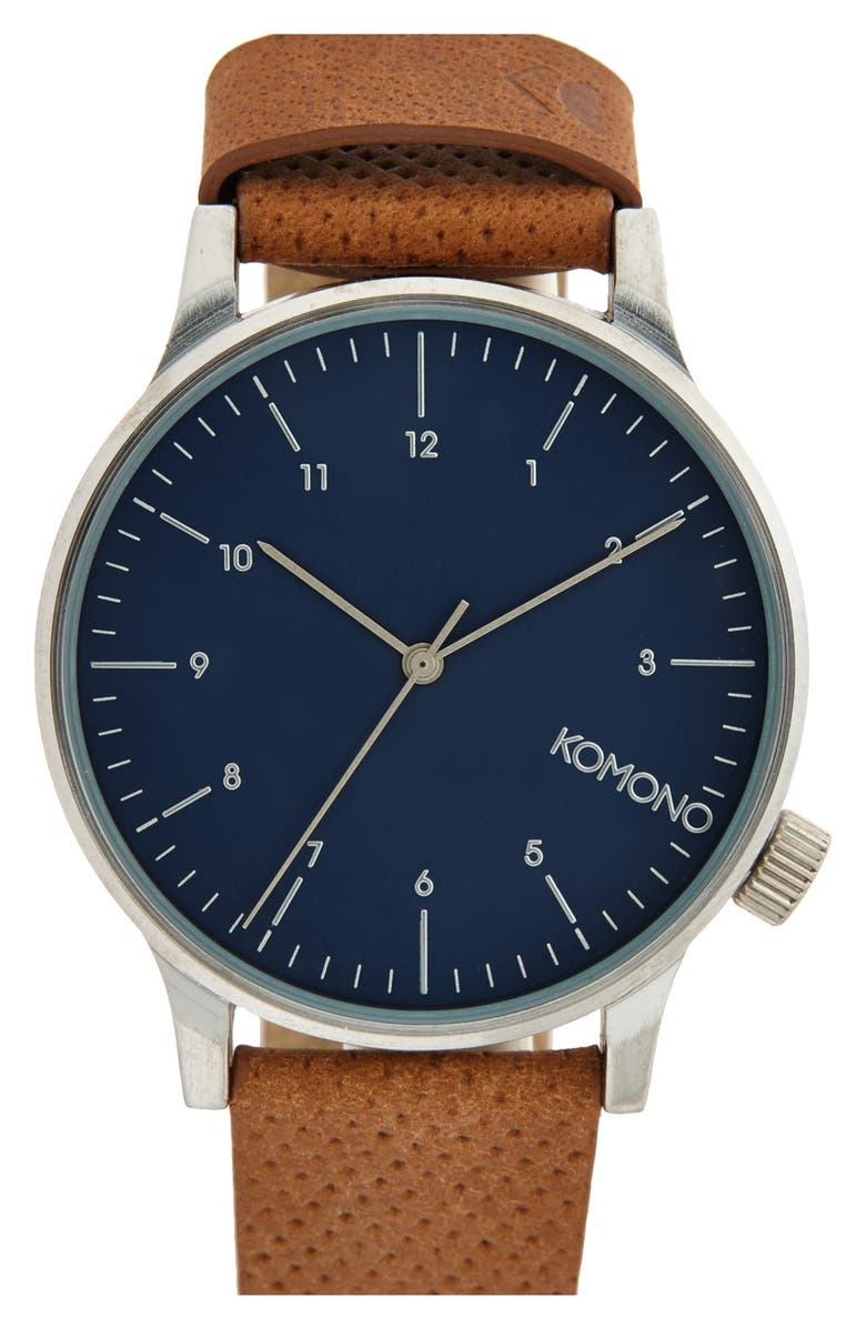 KOMONO 'Winston' Round Dial Leather Strap Watch, 41mm, Main, color, BLUE COGNCA