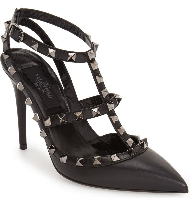 VALENTINO GARAVANI Noir Rockstud T-Strap Pointed Toe Pump, Main, color, BLACK LEATHER