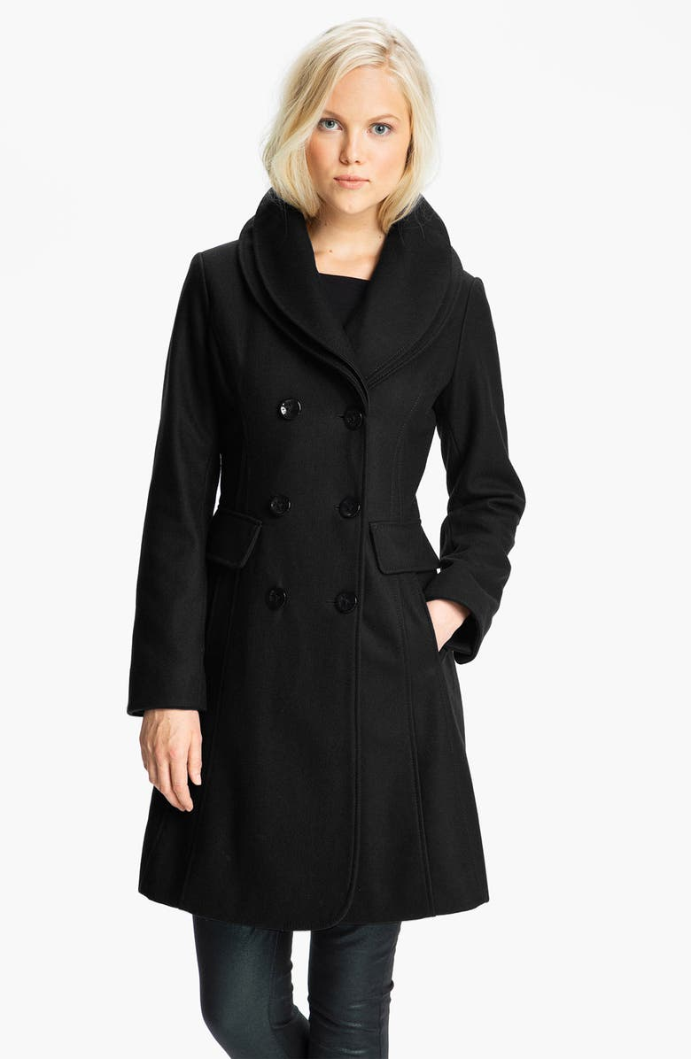 GUESS Double Collar Coat, Main, color, 001