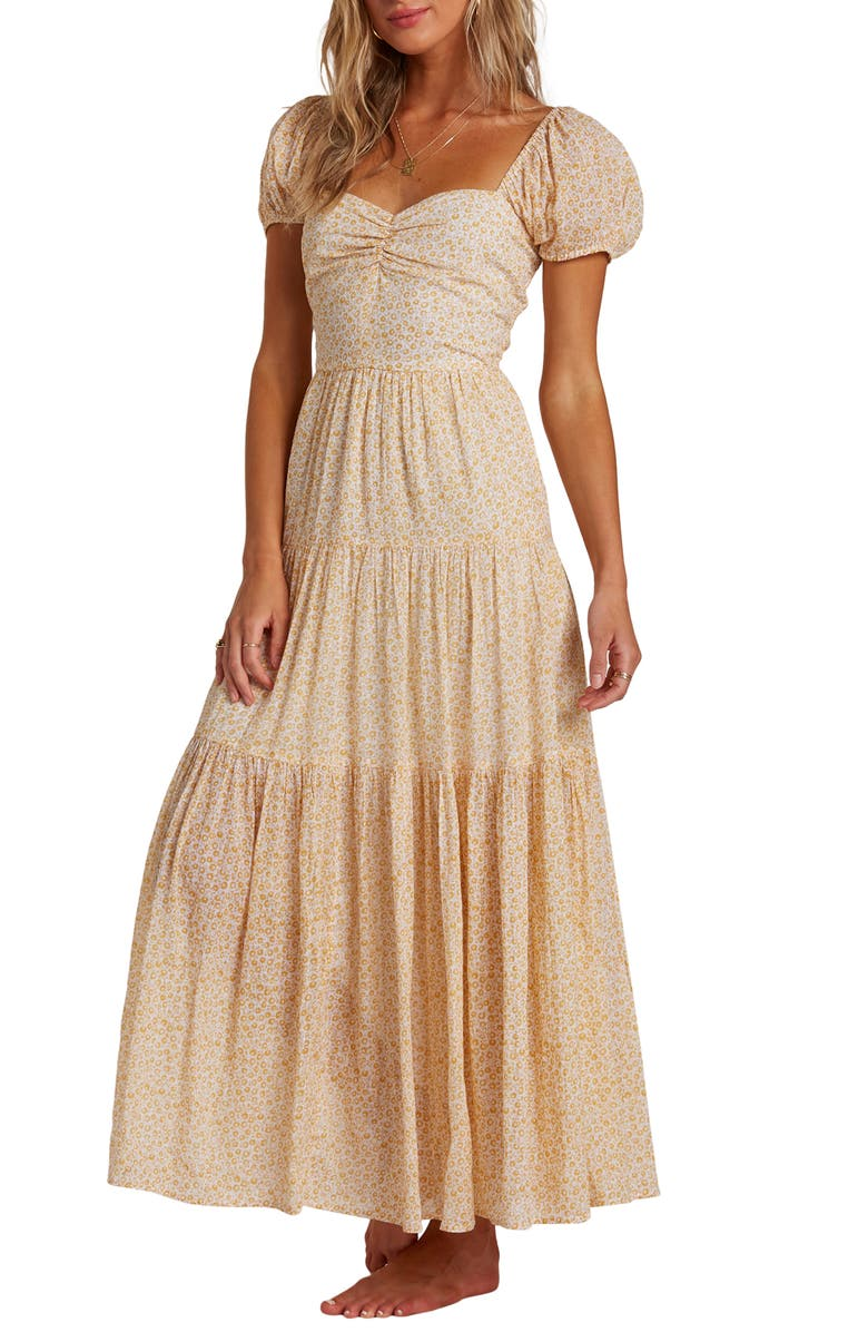 BILLABONG Sunrise Floral Tiered Maxi Dress, Main, color, MIM-MIMOSA
