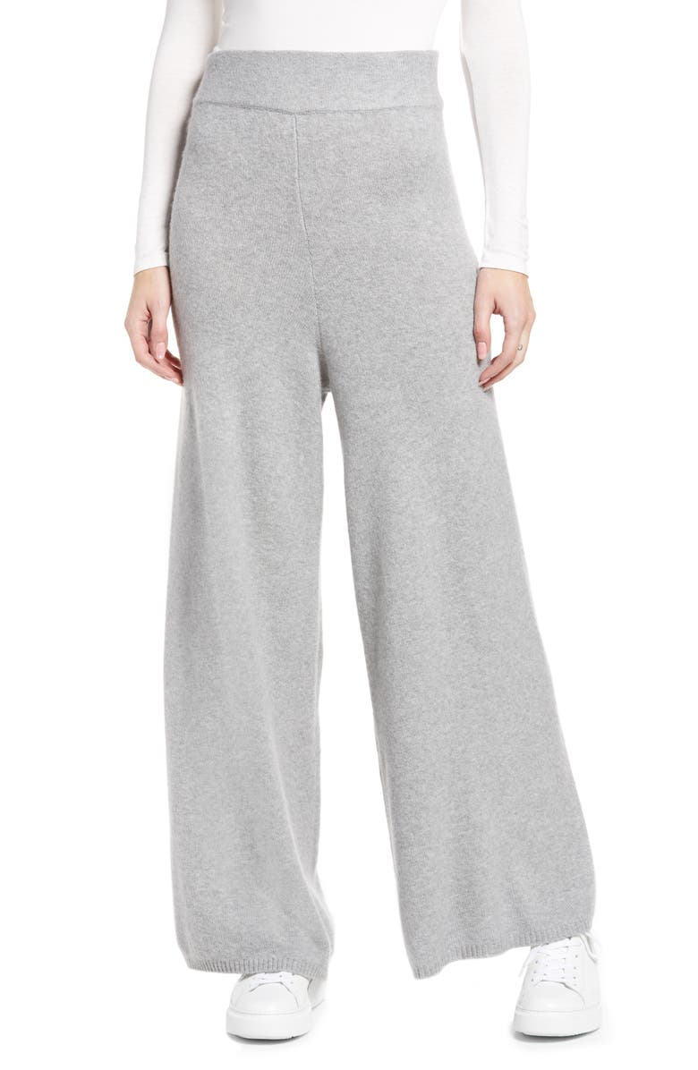 NORDSTROM Wide Leg Sweater Pants, Main, color, GREY HEATHER