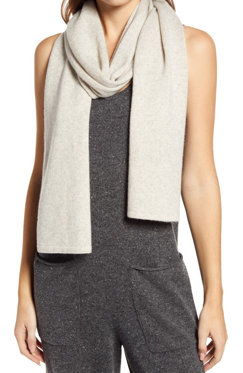 EVERLANE Cashmere Scarf, Main, color, BONE AND OATMEAL TWIST