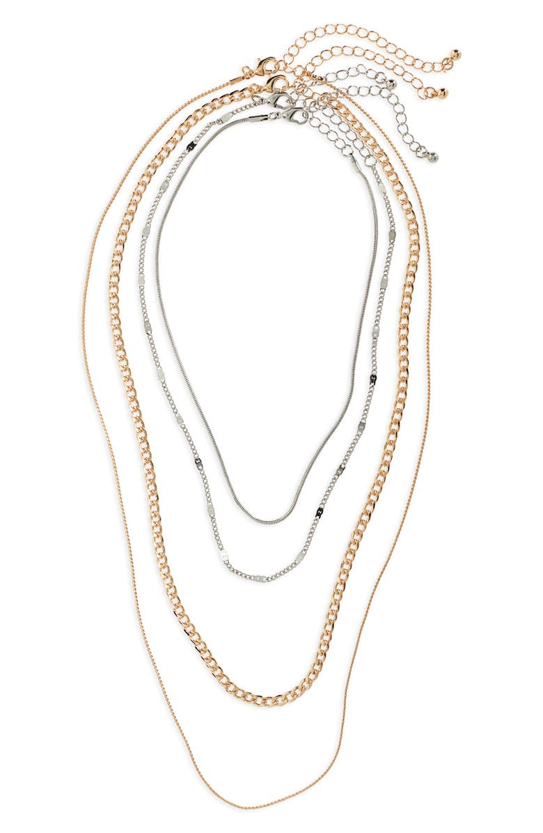 BP. 4-Pack Chain Necklaces, Main, color, GOLD/ SILVER