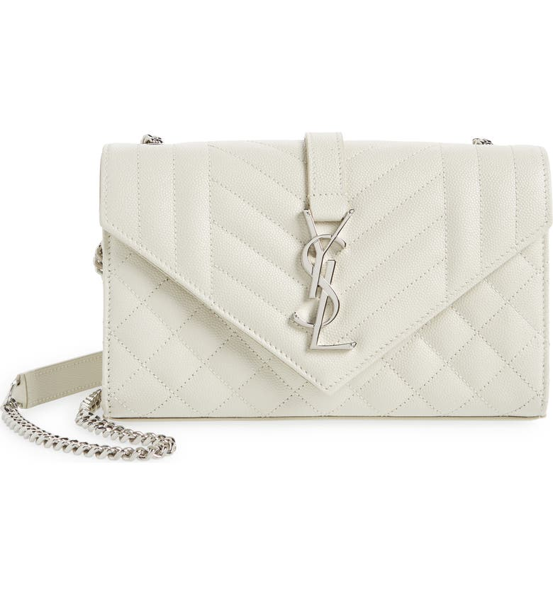 SAINT LAURENT Small Envelope Calfskin Leather Shoulder Bag, Main, color, CREAM