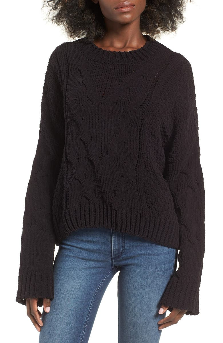 J.O.A. Boxy Cable Knit Sweater, Main, color, 001