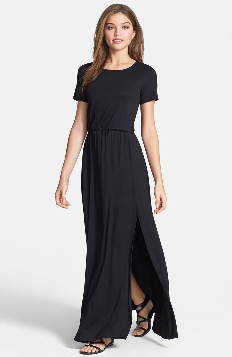 LOVEAPPELLA Cinch Waist Stretch Knit Maxi Dress, Main, color, 001