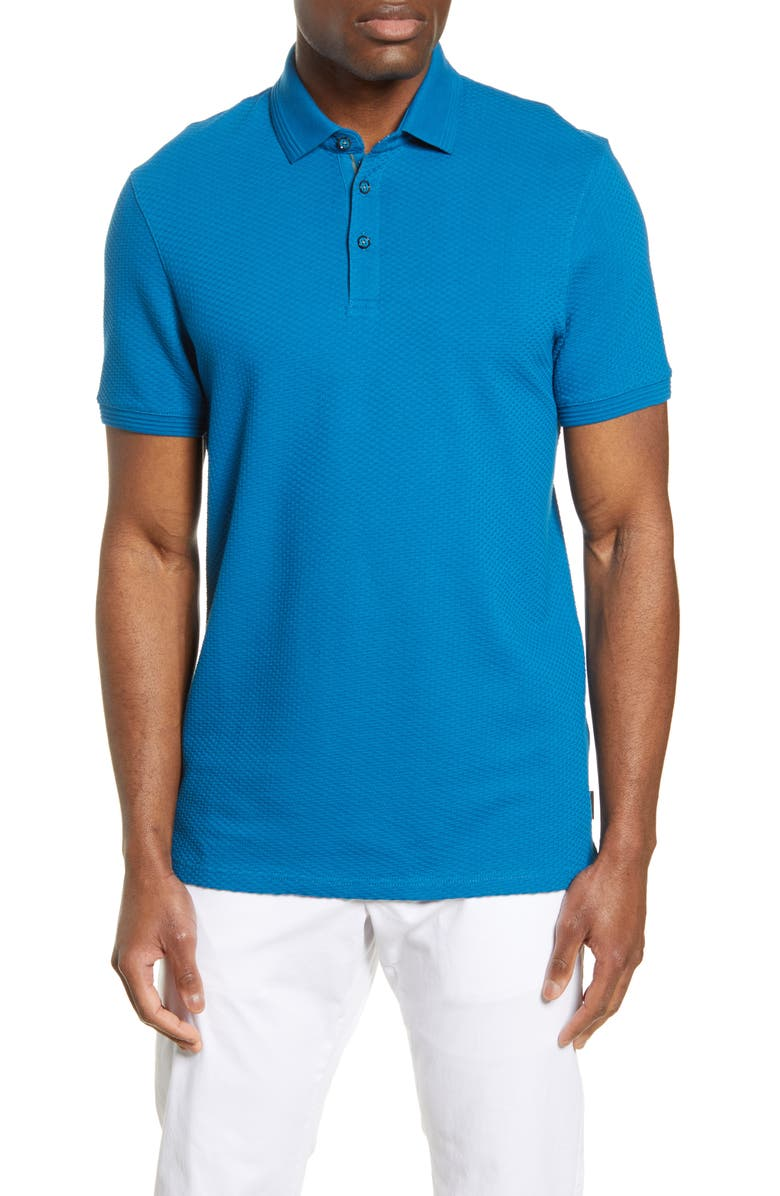 TED BAKER LONDON Infuse Slim Fit Polo, Main, color, TEAL-BLUE