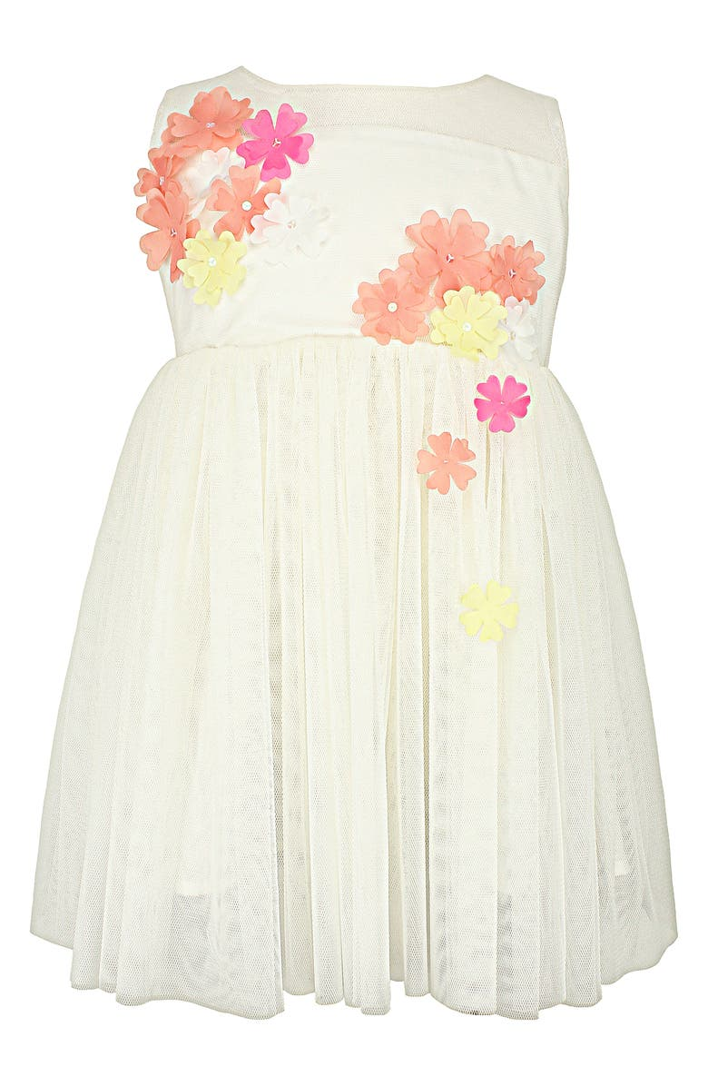 POPATU Floral Appliqué Tulle Dress, Main, color, 100