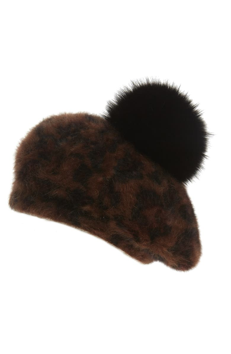 KYI KYI Genuine Fox Fur Pom Beret, Main, color, LEOPARD W BLACK POM