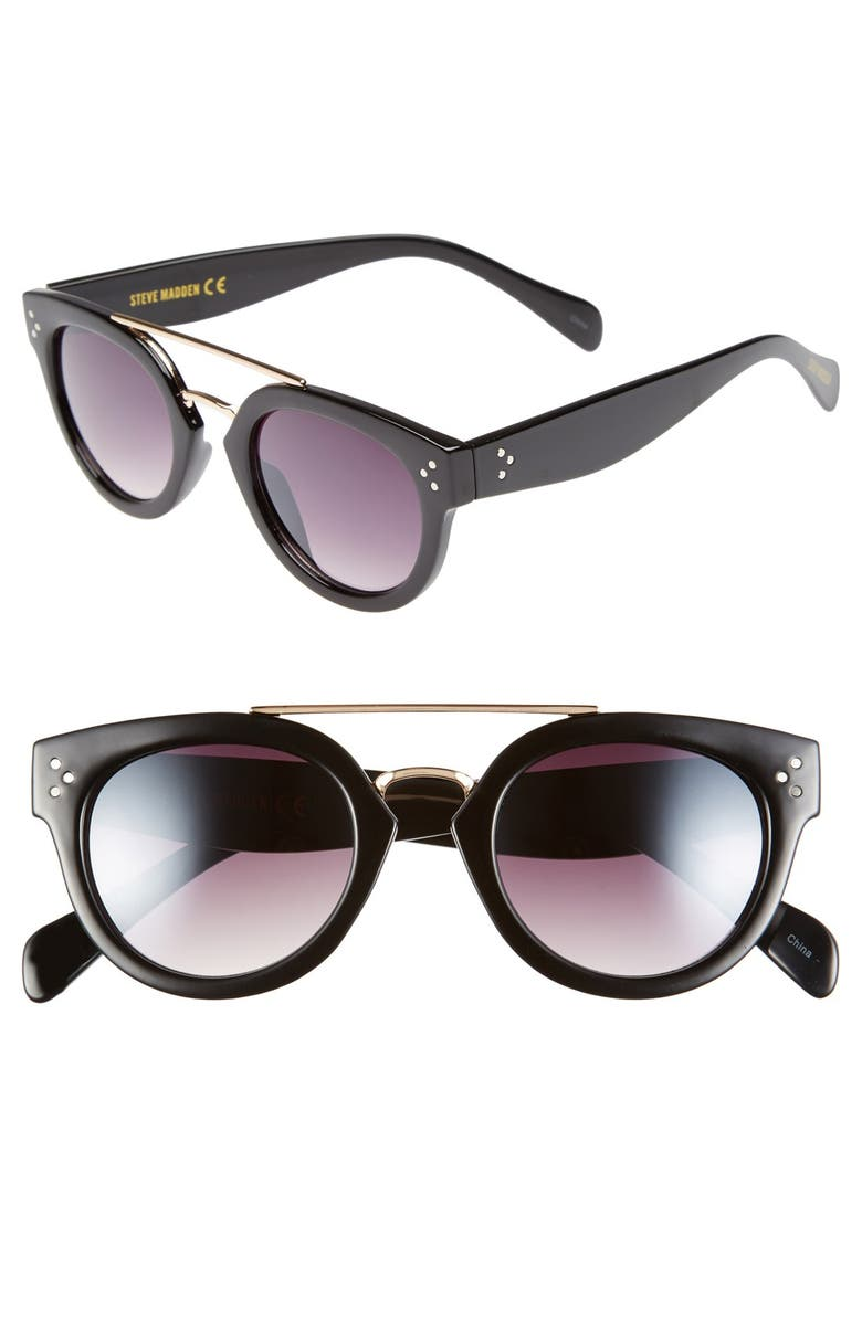 STEVE MADDEN 48mm Metal Brow Bar Round Sunglasses, Main, color, 001