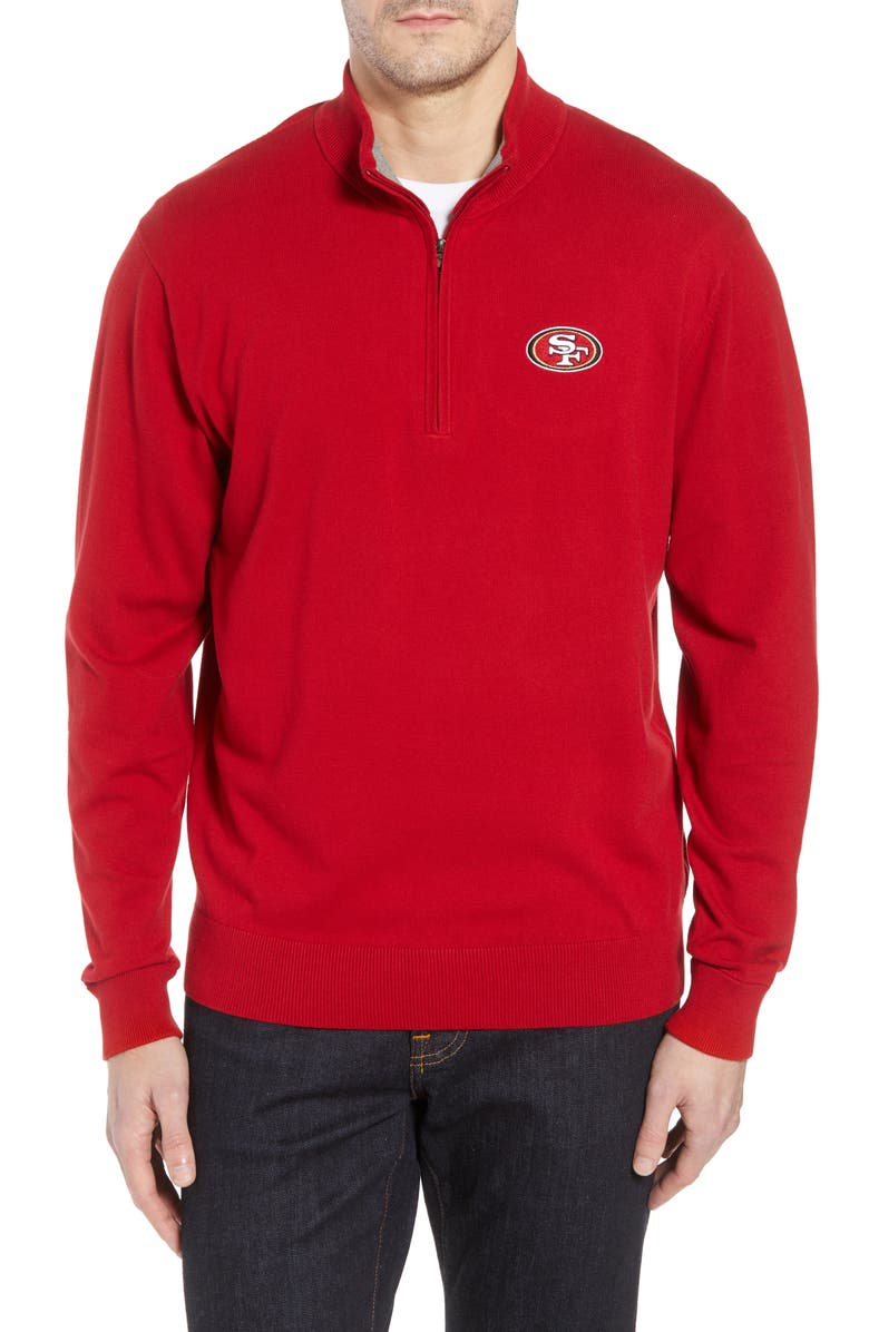 CUTTER & BUCK San Francisco 49ers - Lakemont Regular Fit Quarter Zip Sweater, Main, color, CARDINAL RED