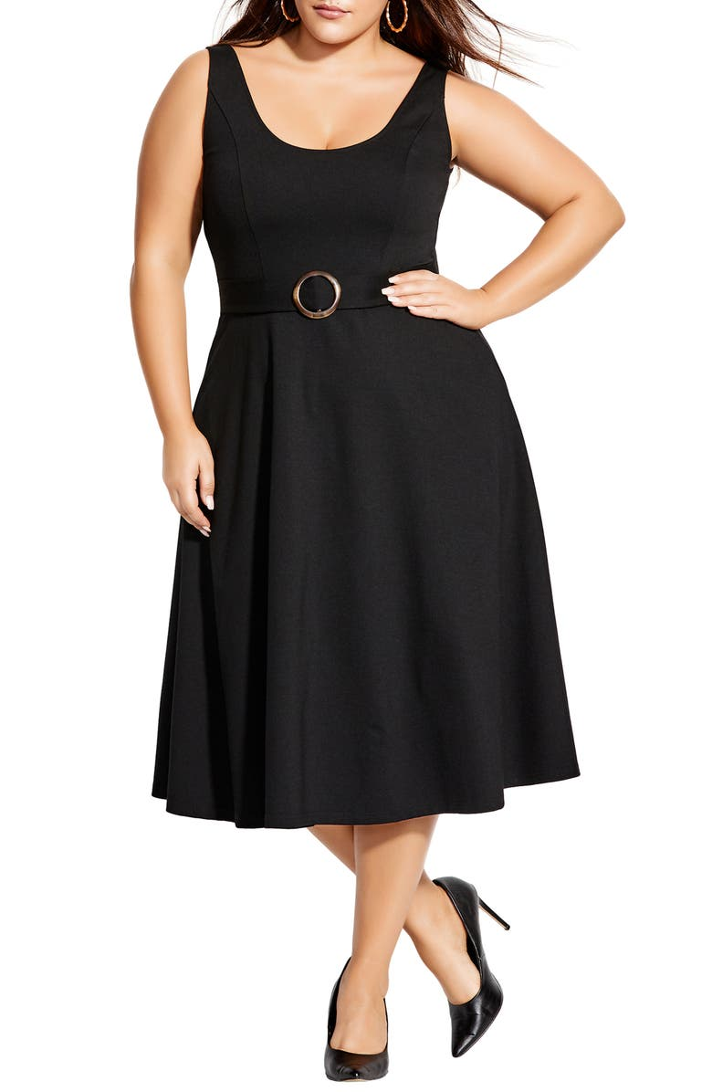 CITY CHIC Fit & Flare Dress, Main, color, 001