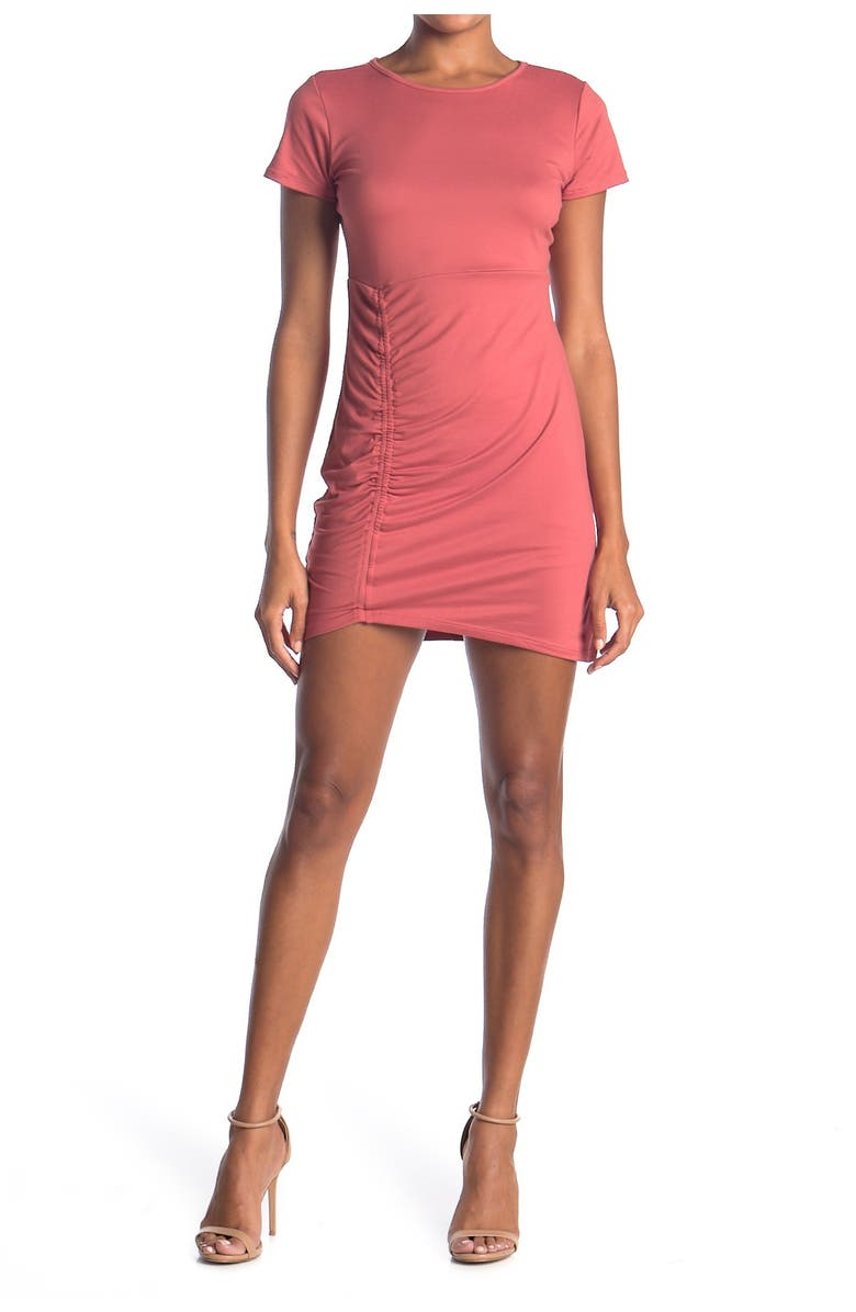 VANITY ROOM Ruched Side Bodycon T-Shirt Dress, Main, color, SUMMER SPICE