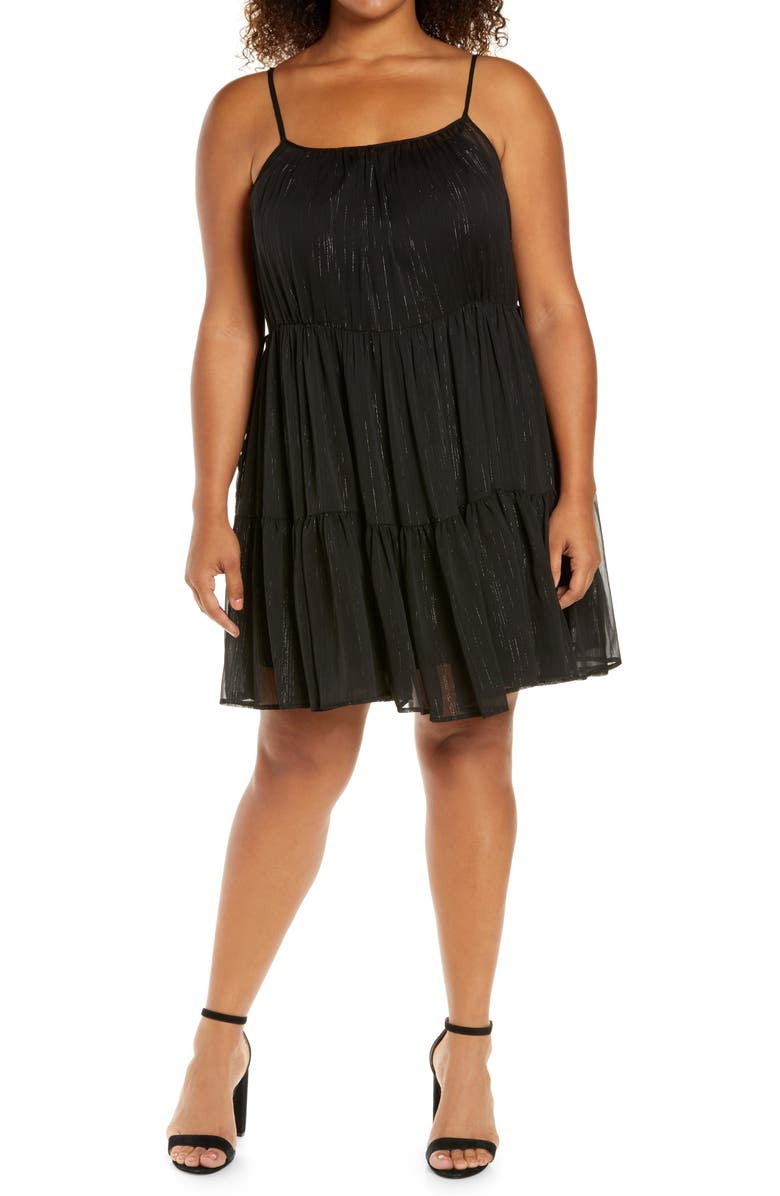 WAYF Clyde Tiered Cami Minidress, Main, color, BLACK