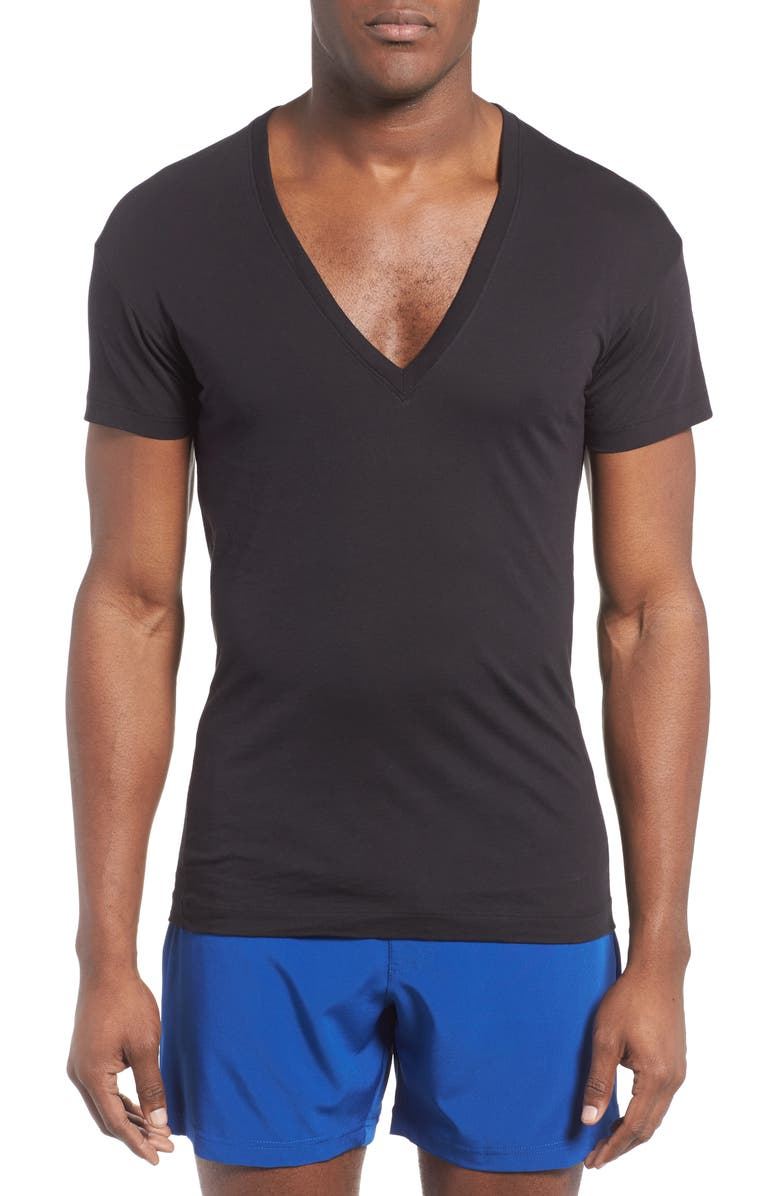 2(X)IST Slim Fit Pima Cotton Deep V-Neck T-Shirt, Main, color, BLACK