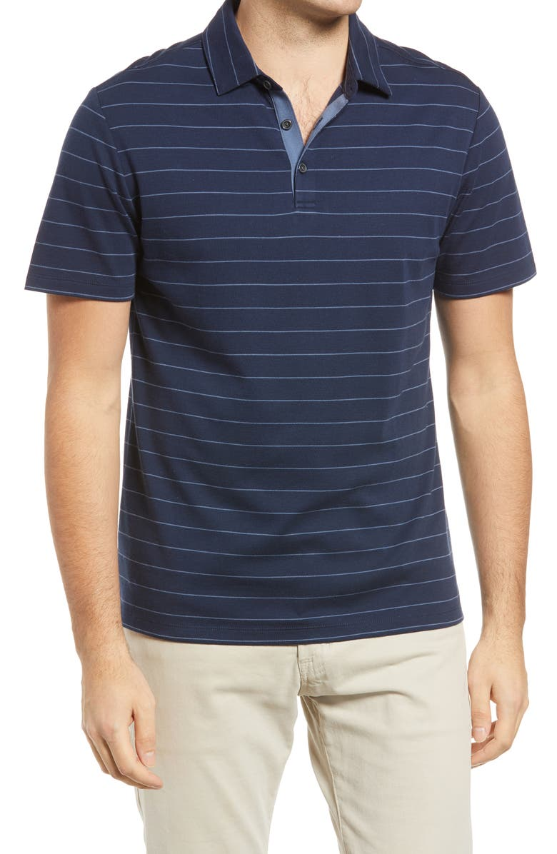 ROBERT BARAKETT Stripe Short Sleeve Polo, Main, color, BLUE NIGHT