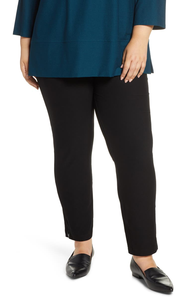 EILEEN FISHER Slim Zip Cuff Ankle Pants, Main, color, 001