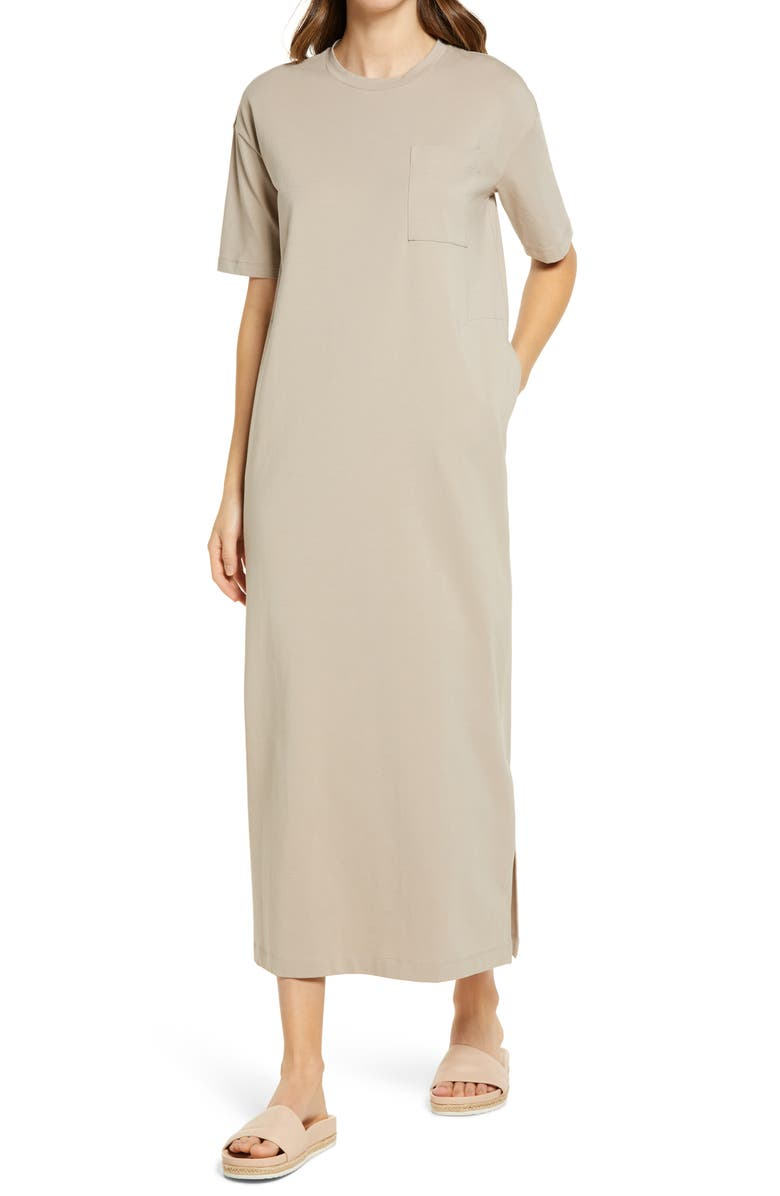 NORDSTROM T-Shirt Maxi Dress, Main, color, TAN COBBLESTONE