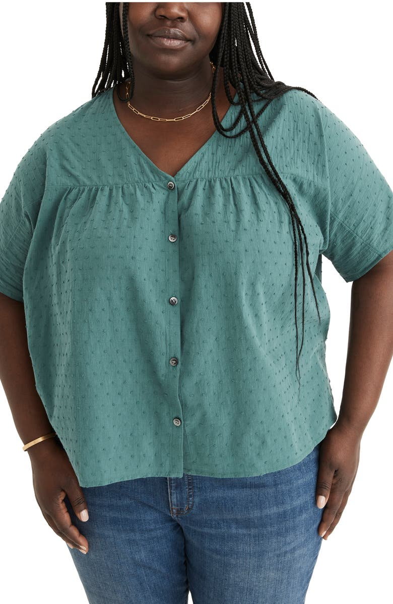 MADEWELL Swiss Dot V-Neck Blouse, Main, color, SHADED EVERGREEN