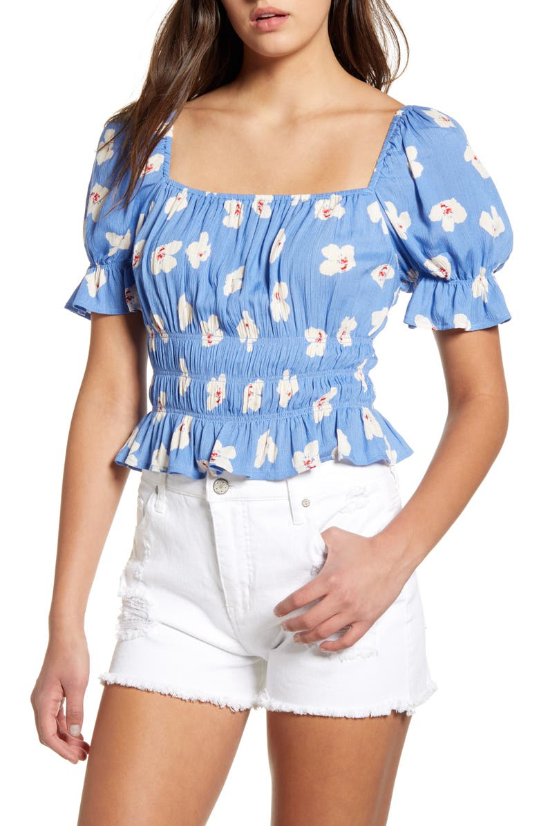 ALL IN FAVOR Print Smocked Square Neck Top, Main, color, 400