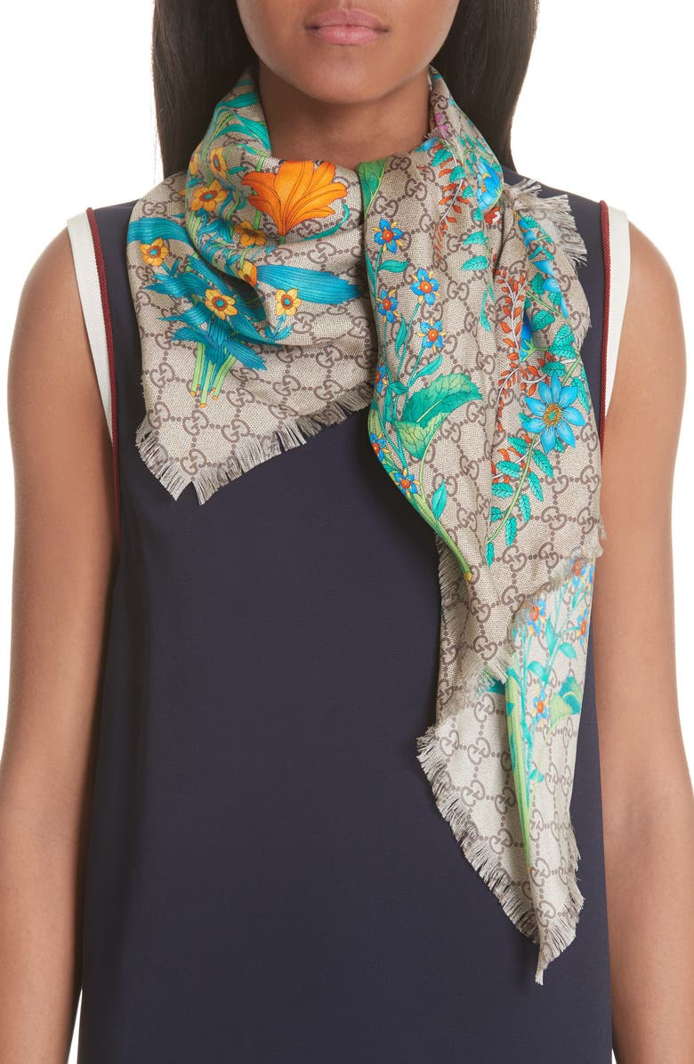 GUCCI GG New Floral Scarf, Main, color, 200