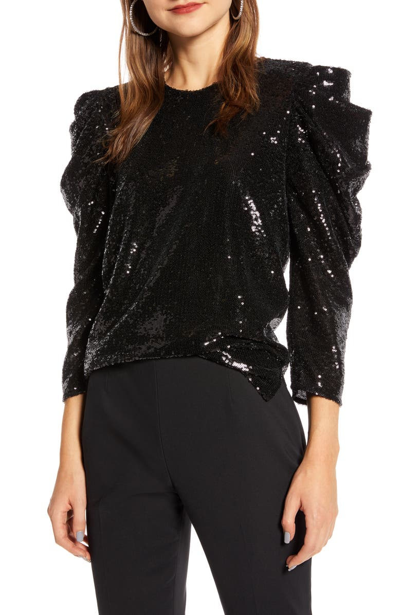 SOMETHING NAVY Sequin Night Out Top, Main, color, 001