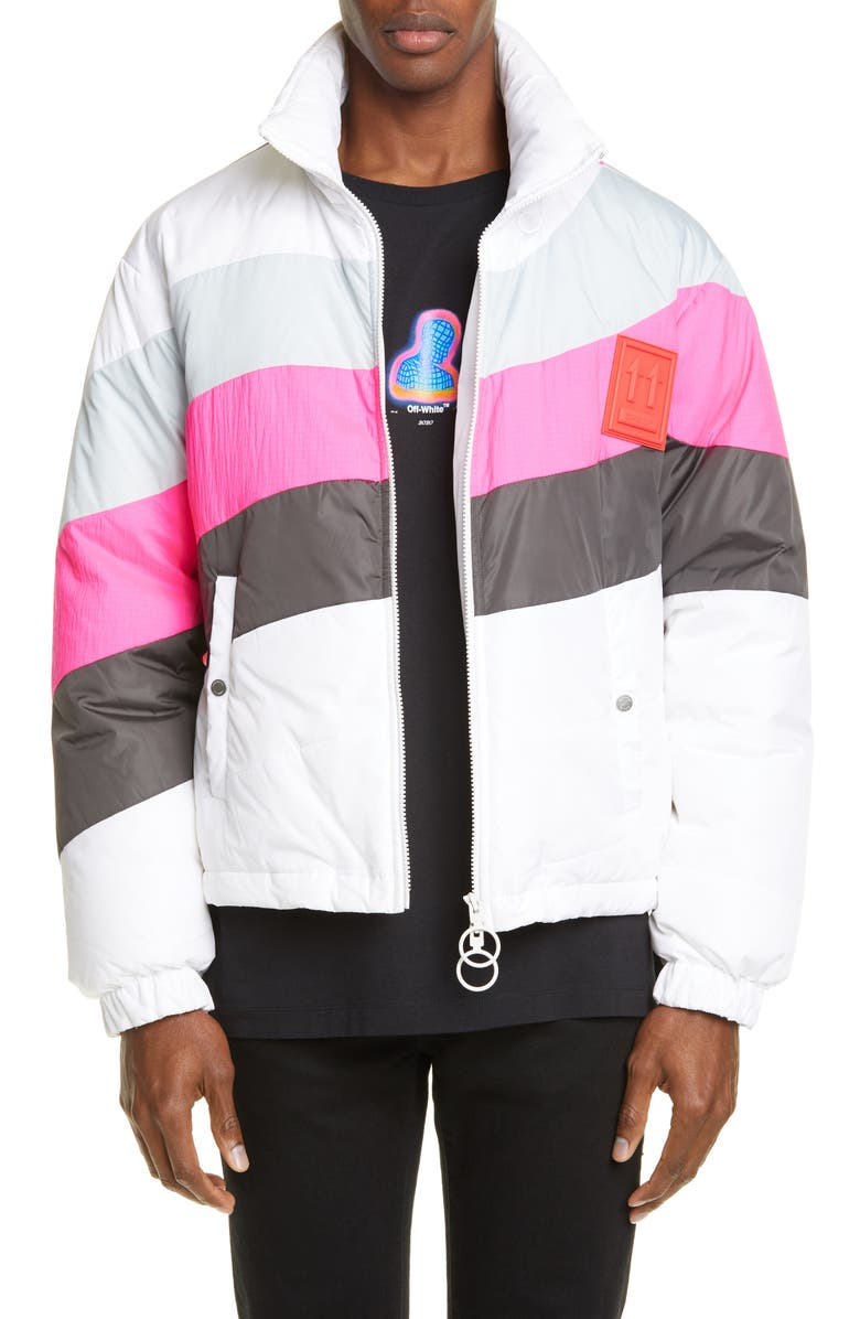 OFF-WHITE Colorblock Nylon Puffer Jacket, Main, color, 100