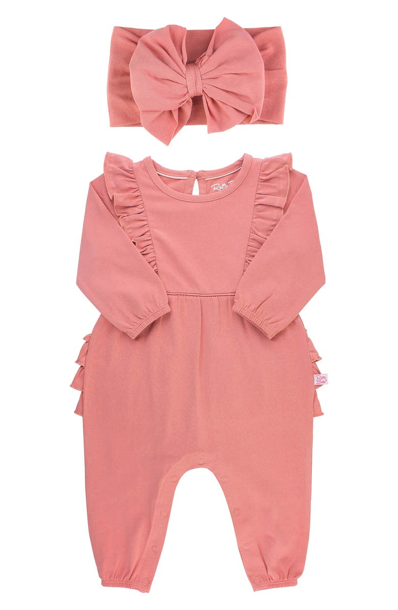 RUFFLEBUTTS Dusty Rose Waterfall Jumpsuit and Headband, Main, color, PINK