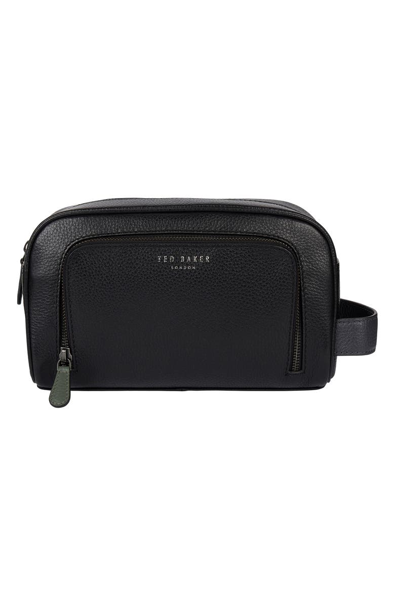 TED BAKER LONDON Clings Leather Dopp Kit, Main, color, BLACK