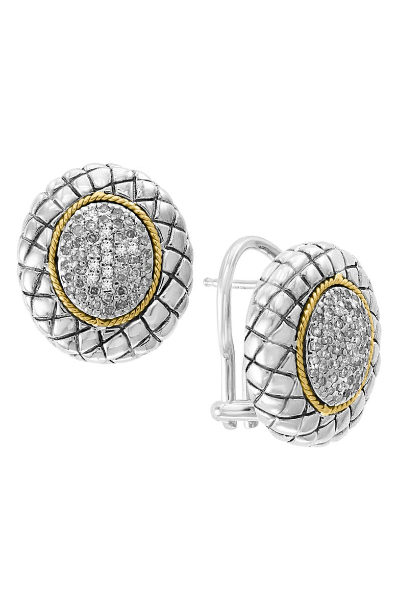 EFFY Balissima by Effy Quilted Oval Diamond Earrings - 0.38 ctw - Gift With Purchase, Main, color, WHITE