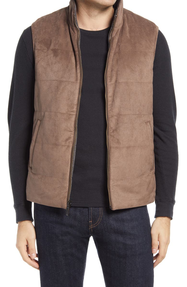 JOHNSTON & MURPHY Reversible Quilted Vest, Main, color, TAUPE/ BRN