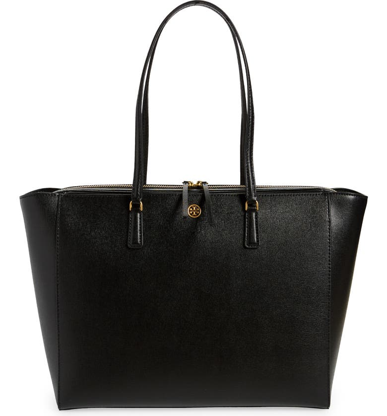 TORY BURCH Robinson Leather Tote, Main, color, BLACK