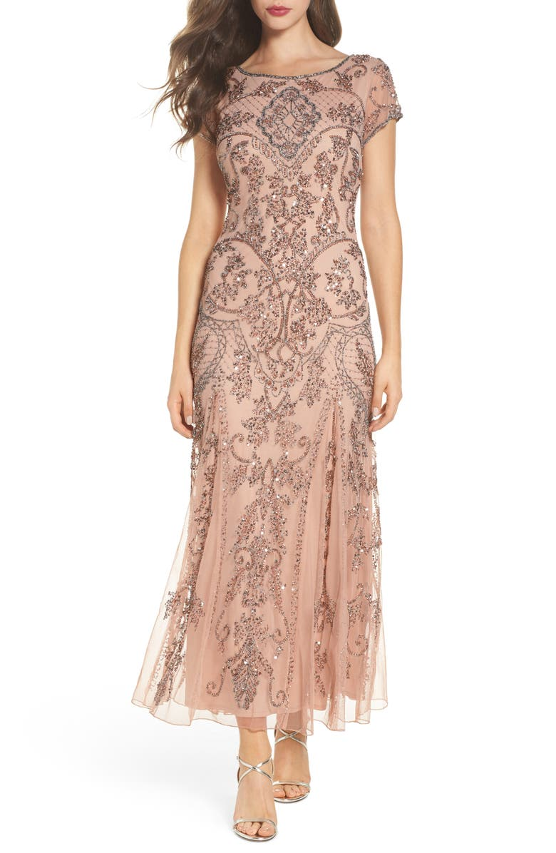 PISARRO NIGHTS Embellished Mesh Gown, Main, color, BLUSH